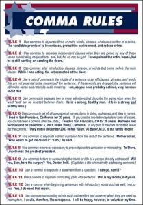 قوانین استفاده از ویرگول در زبان انگلیسی